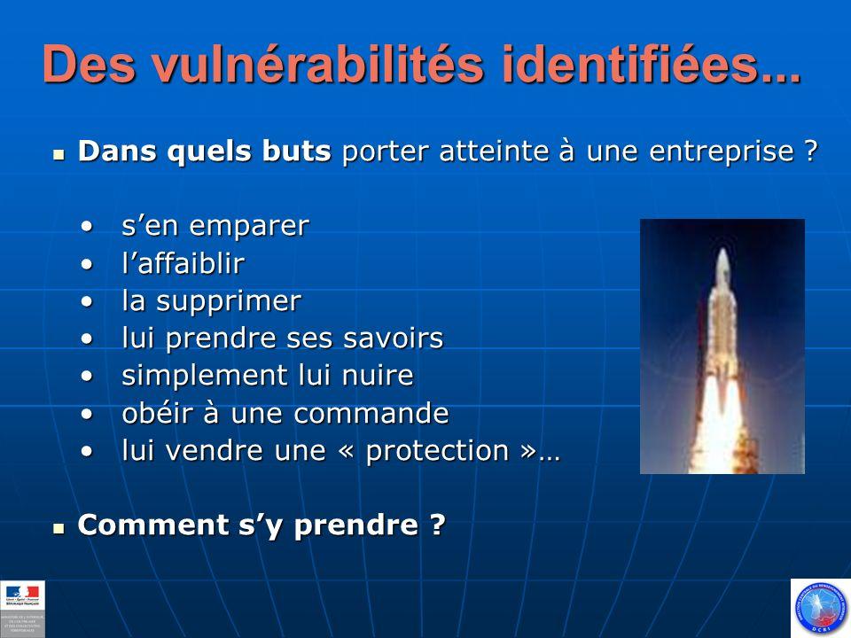 Des vulnérabilités identifiées... Dans quels buts porter atteinte à une entreprise .