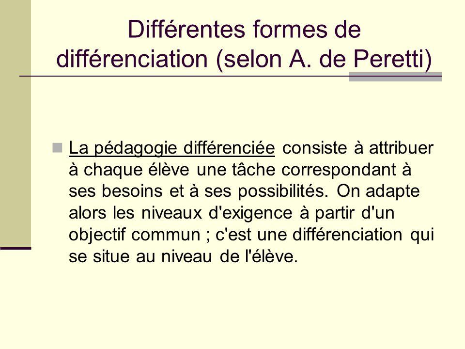 Différentes formes de différenciation (selon A. de Peretti) La pédagogie différenciée consiste à attribuer à chaque élève une tâche correspondant à se