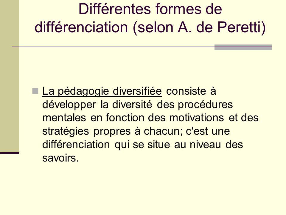 Différentes formes de différenciation (selon A. de Peretti) La pédagogie diversifiée consiste à développer la diversité des procédures mentales en fon