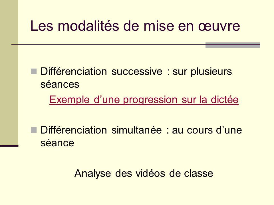 Les modalités de mise en œuvre Différenciation successive : sur plusieurs séances Exemple dune progression sur la dictée Différenciation simultanée :