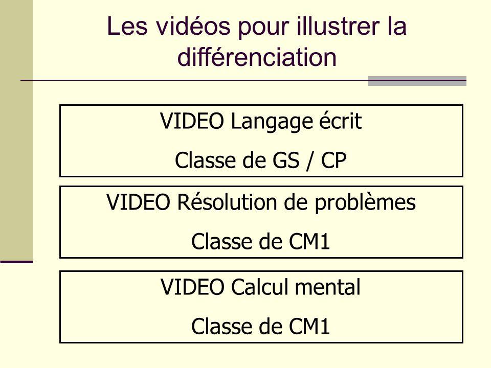 VIDEO Langage écrit Classe de GS / CP VIDEO Résolution de problèmes Classe de CM1 VIDEO Calcul mental Classe de CM1 Les vidéos pour illustrer la diffé