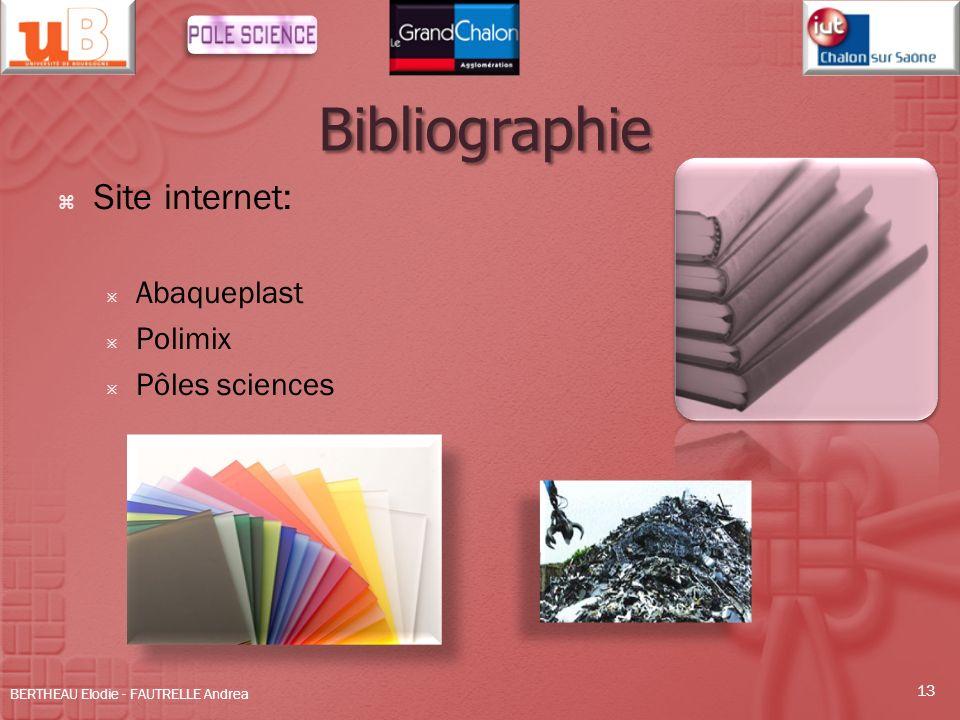 Bibliographie Site internet: Abaqueplast Polimix Pôles sciences BERTHEAU Elodie - FAUTRELLE Andrea 13