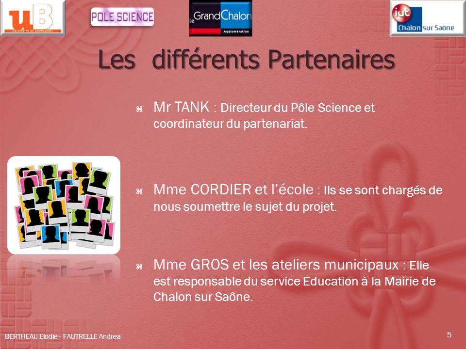 Les différents Partenaires Mr TANK : Directeur du Pôle Science et coordinateur du partenariat. Mme CORDIER et lécole : Ils se sont chargés de nous sou