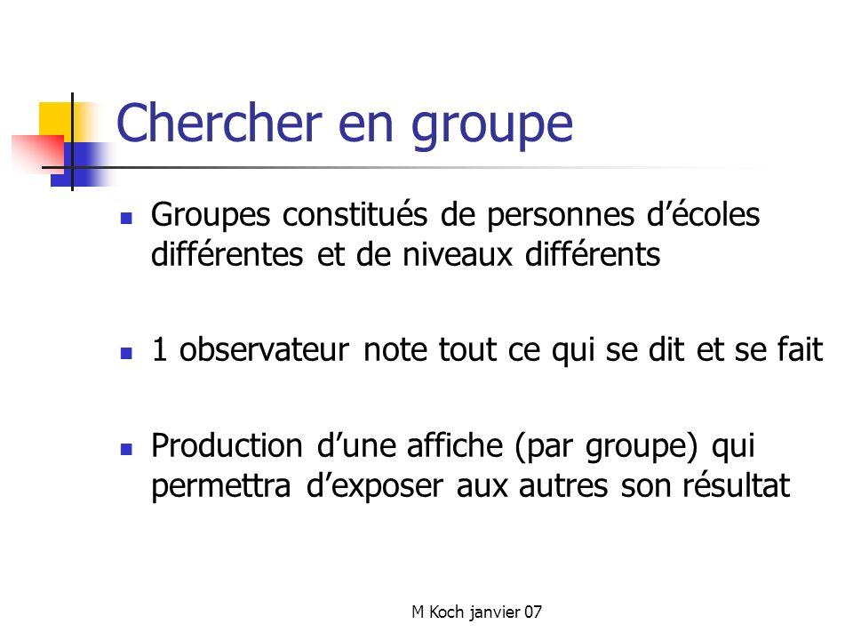 M Koch janvier 07 Chercher en groupe Groupes constitués de personnes décoles différentes et de niveaux différents 1 observateur note tout ce qui se dit et se fait Production dune affiche (par groupe) qui permettra dexposer aux autres son résultat