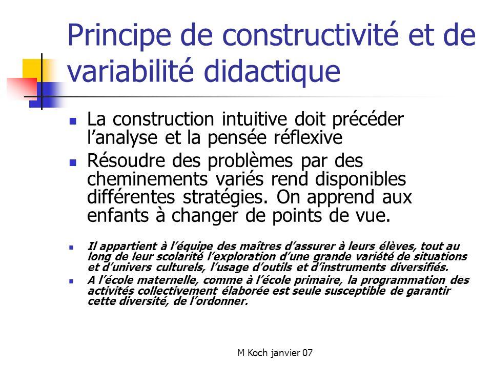 M Koch janvier 07 Principe de constructivité et de variabilité didactique La construction intuitive doit précéder lanalyse et la pensée réflexive Résoudre des problèmes par des cheminements variés rend disponibles différentes stratégies.