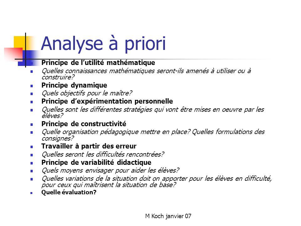 M Koch janvier 07 Analyse à priori Principe de lutilité mathématique Quelles connaissances mathématiques seront-ils amenés à utiliser ou à construire.