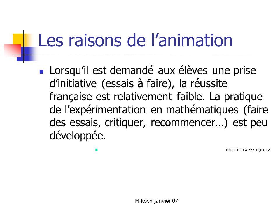 M Koch janvier 07 Les raisons de lanimation Lorsquil est demandé aux élèves une prise dinitiative (essais à faire), la réussite française est relativement faible.