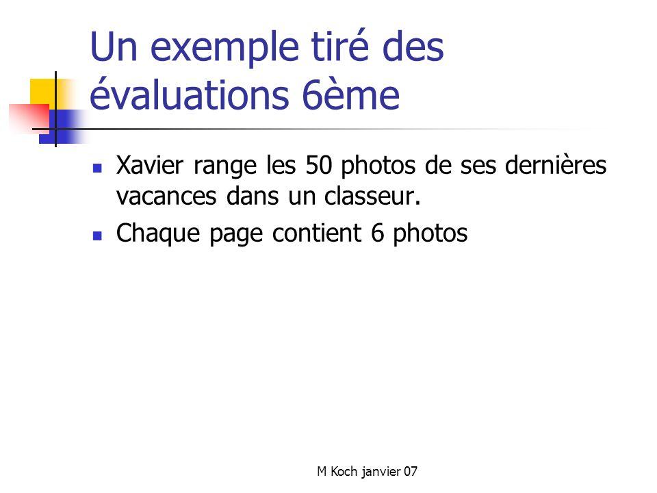 M Koch janvier 07 Un exemple tiré des évaluations 6ème Xavier range les 50 photos de ses dernières vacances dans un classeur.