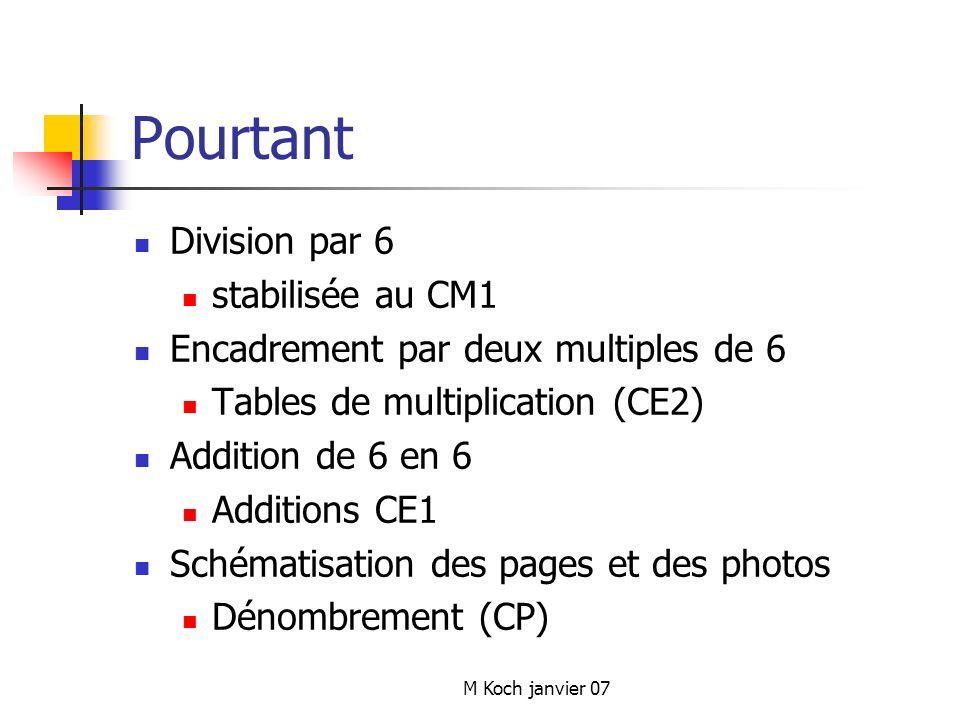 M Koch janvier 07 Pourtant Division par 6 stabilisée au CM1 Encadrement par deux multiples de 6 Tables de multiplication (CE2) Addition de 6 en 6 Additions CE1 Schématisation des pages et des photos Dénombrement (CP)