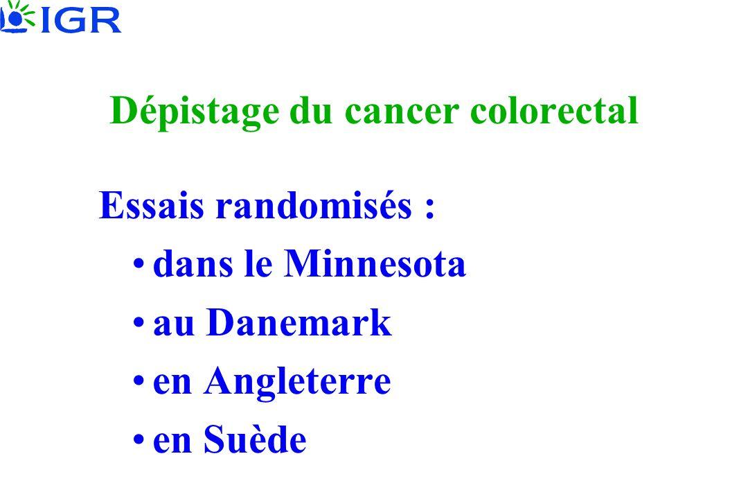 Dépistage du cancer colorectal Essais randomisés : dans le Minnesota au Danemark en Angleterre en Suède