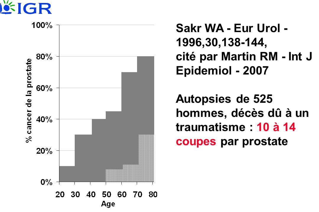 Sakr WA - Eur Urol - 1996,30,138-144, cité par Martin RM - Int J Epidemiol - 2007 Autopsies de 525 hommes, décès dû à un traumatisme : 10 à 14 coupes