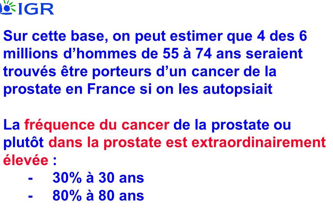 Sur cette base, on peut estimer que 4 des 6 millions dhommes de 55 à 74 ans seraient trouvés être porteurs dun cancer de la prostate en France si on l