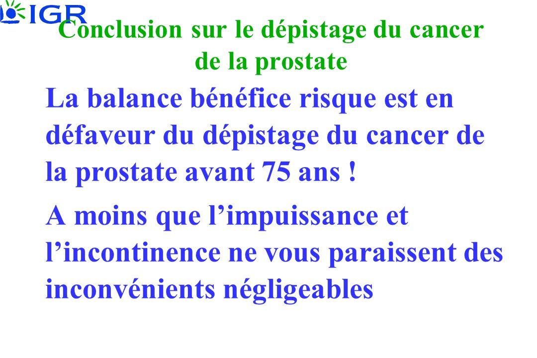 Conclusion sur le dépistage du cancer de la prostate La balance bénéfice risque est en défaveur du dépistage du cancer de la prostate avant 75 ans ! A
