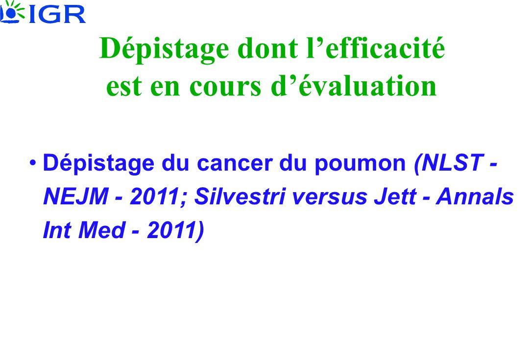 Dépistage dont lefficacité est en cours dévaluation Dépistage du cancer du poumon (NLST - NEJM - 2011; Silvestri versus Jett - Annals Int Med - 2011)