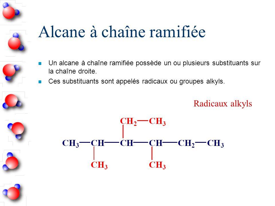 Alcane à chaîne ramifiée n Un alcane à chaîne ramifiée possède un ou plusieurs substituants sur la chaîne droite.