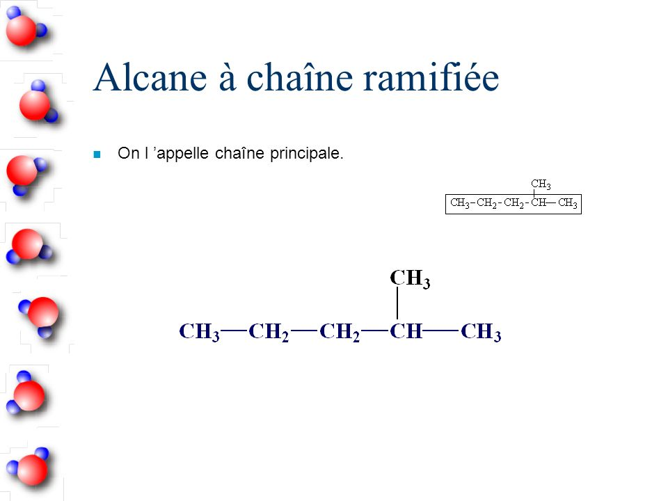 Alcane à chaîne ramifiée n On l appelle chaîne principale.