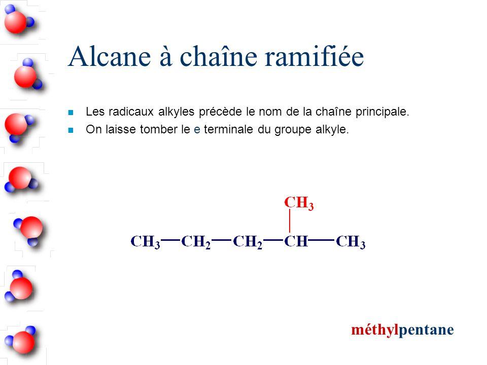 Alcane à chaîne ramifiée n Les radicaux alkyles précède le nom de la chaîne principale.