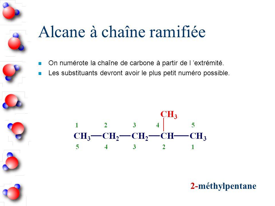 Alcane à chaîne ramifiée n On numérote la chaîne de carbone à partir de l extrémité.