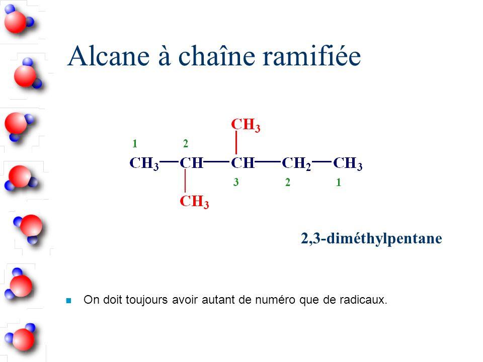 Alcane à chaîne ramifiée n On doit toujours avoir autant de numéro que de radicaux.