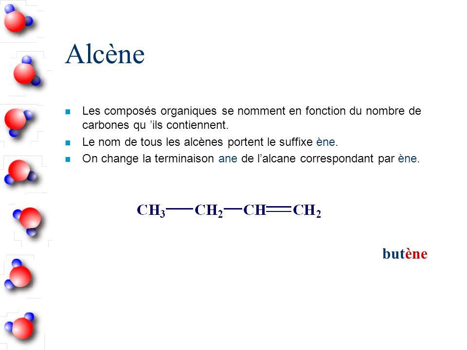 Alcène n Les composés organiques se nomment en fonction du nombre de carbones qu ils contiennent.