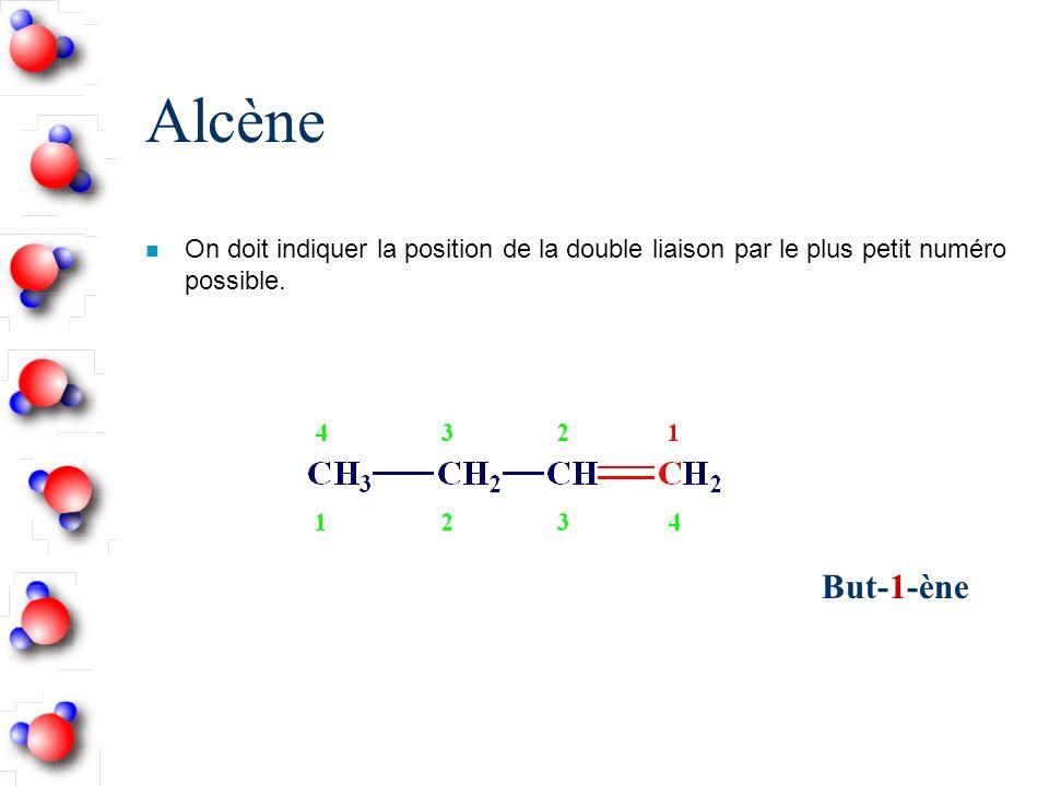 Alcène n On doit indiquer la position de la double liaison par le plus petit numéro possible.