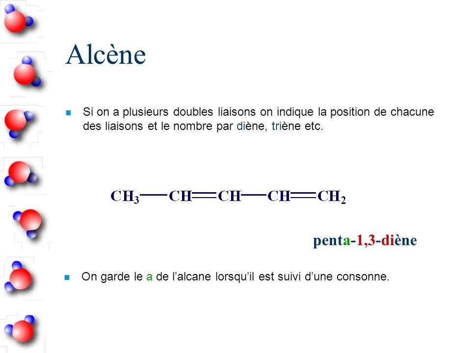 Alcène n Si on a plusieurs doubles liaisons on indique la position de chacune des liaisons et le nombre par diène, triène etc.