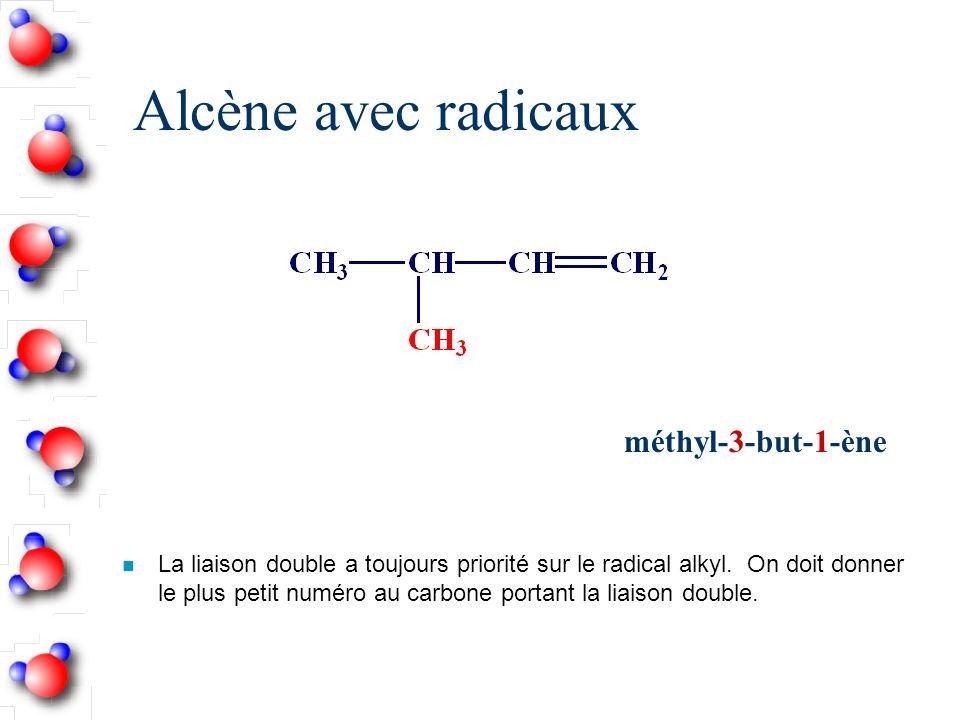 Alcène avec radicaux n La liaison double a toujours priorité sur le radical alkyl.