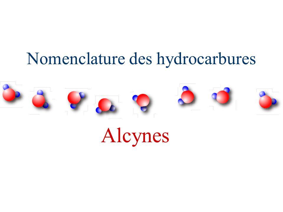 Nomenclature des hydrocarbures Alcynes