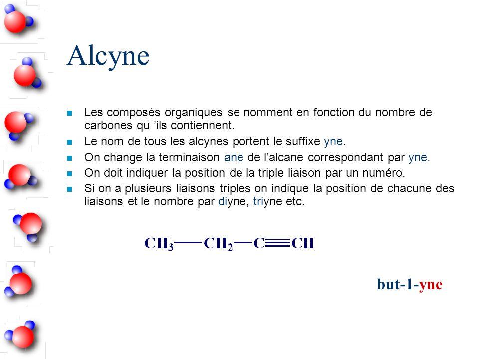 Alcyne n Les composés organiques se nomment en fonction du nombre de carbones qu ils contiennent.