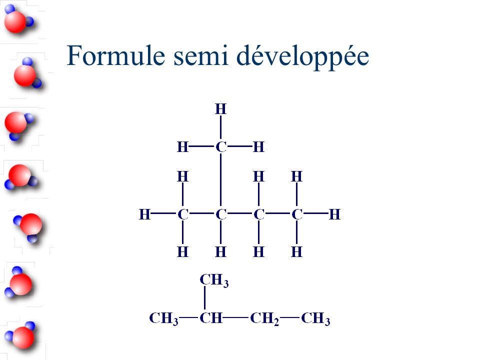 Écrire la structure semi-développée du 2,2,4-triméthylpentane n Écrire la chaîne de carbone (pentane)