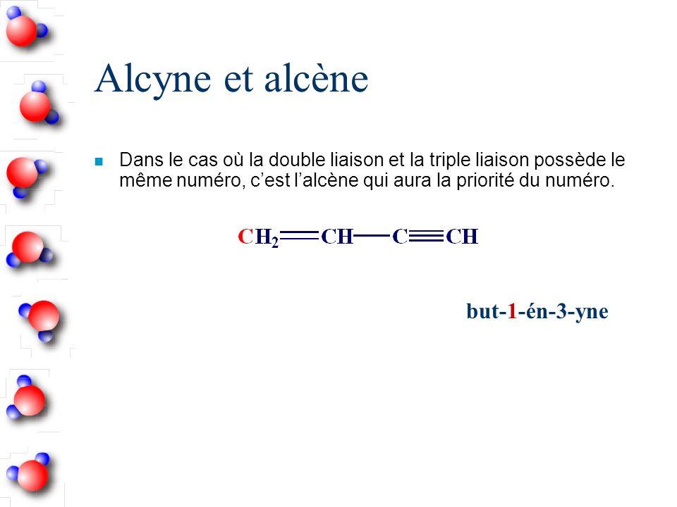 Alcyne et alcène n Dans le cas où la double liaison et la triple liaison possède le même numéro, cest lalcène qui aura la priorité du numéro.