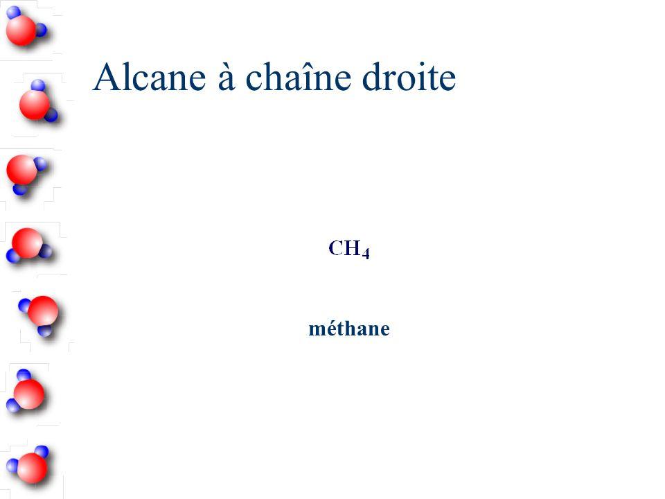 Alcane à chaîne ramifiée n Cette chaîne est nommée d après le nombre de carbones qu elle contient.