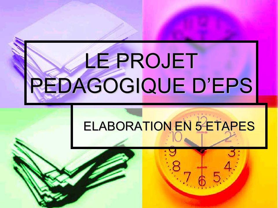 LE PROJET PEDAGOGIQUE DEPS ELABORATION EN 5 ETAPES