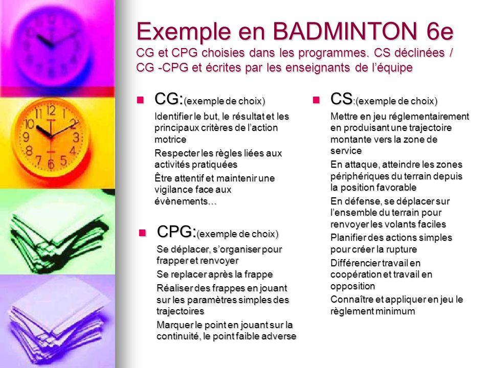 Exemple en BADMINTON 6e CG et CPG choisies dans les programmes.