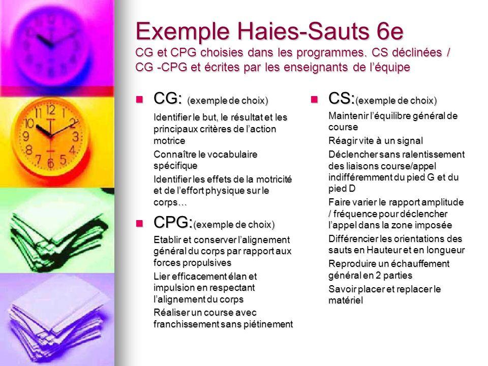 Exemple Haies-Sauts 6e CG et CPG choisies dans les programmes. CS déclinées / CG -CPG et écrites par les enseignants de léquipe CG: (exemple de choix)