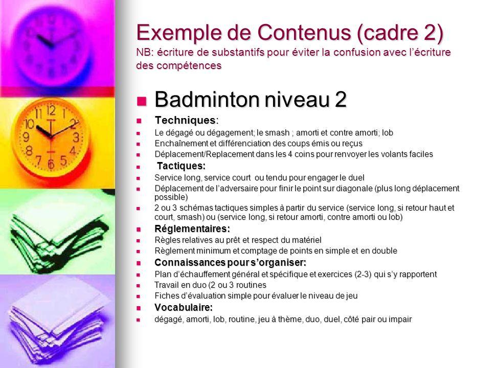 Exemple de Contenus (cadre 2) NB: écriture de substantifs pour éviter la confusion avec lécriture des compétences Badminton niveau 2 Badminton niveau