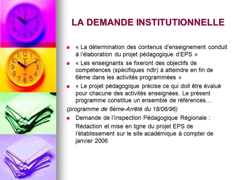 LA DEMANDE INSTITUTIONNELLE « La détermination des contenus denseignement conduit à lélaboration du projet pédagogique dEPS » « La détermination des c