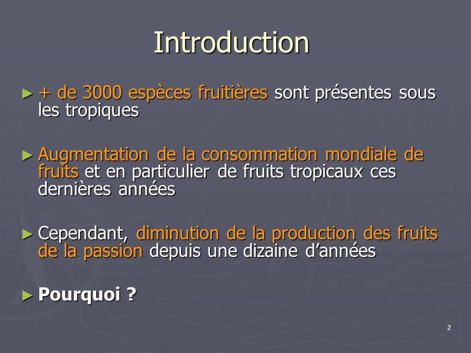 2 Introduction + de 3000 espèces fruitières sont présentes sous les tropiques + de 3000 espèces fruitières sont présentes sous les tropiques Augmentat