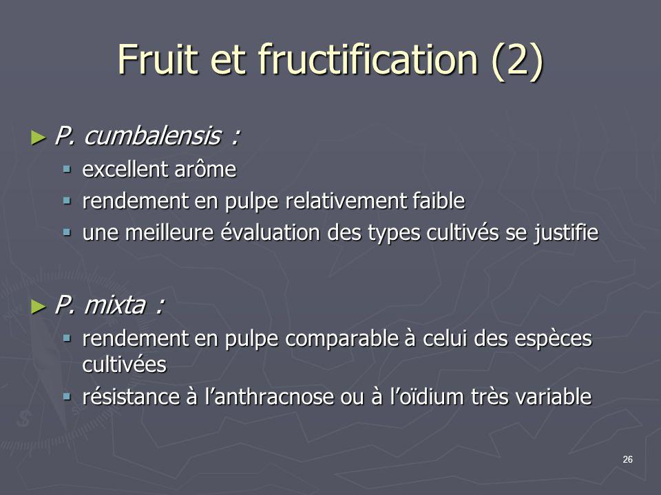 26 Fruit et fructification (2) P. cumbalensis : P. cumbalensis : excellent arôme excellent arôme rendement en pulpe relativement faible rendement en p