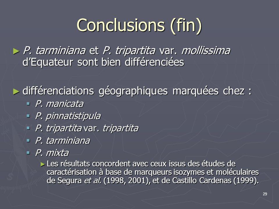 29 Conclusions (fin) P. tarminiana et P. tripartita var. mollissima dEquateur sont bien différenciées P. tarminiana et P. tripartita var. mollissima d