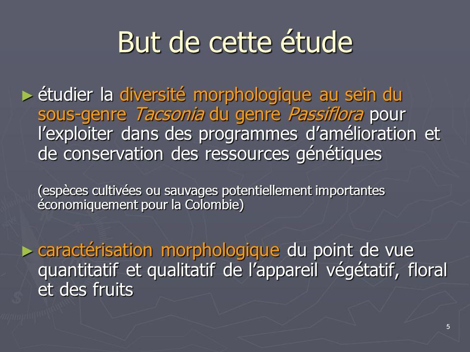 5 But de cette étude étudier la diversité morphologique au sein du sous-genre Tacsonia du genre Passiflora pour lexploiter dans des programmes damélio