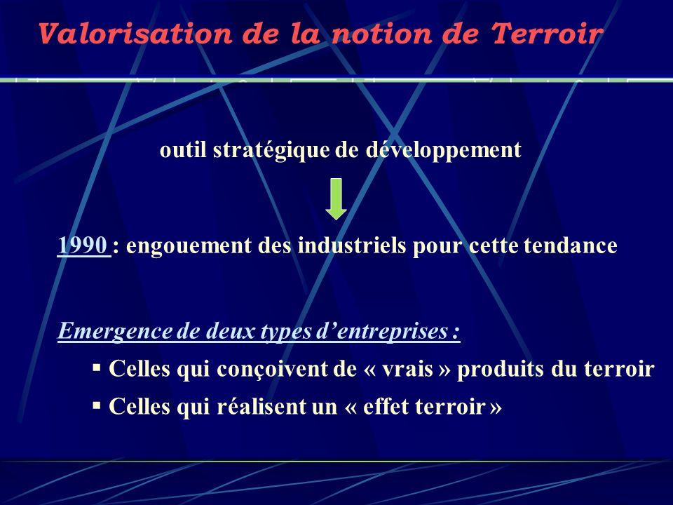 1990 : engouement des industriels pour cette tendance Valorisation de la notion de Terroir Emergence de deux types dentreprises : Celles qui conçoiven
