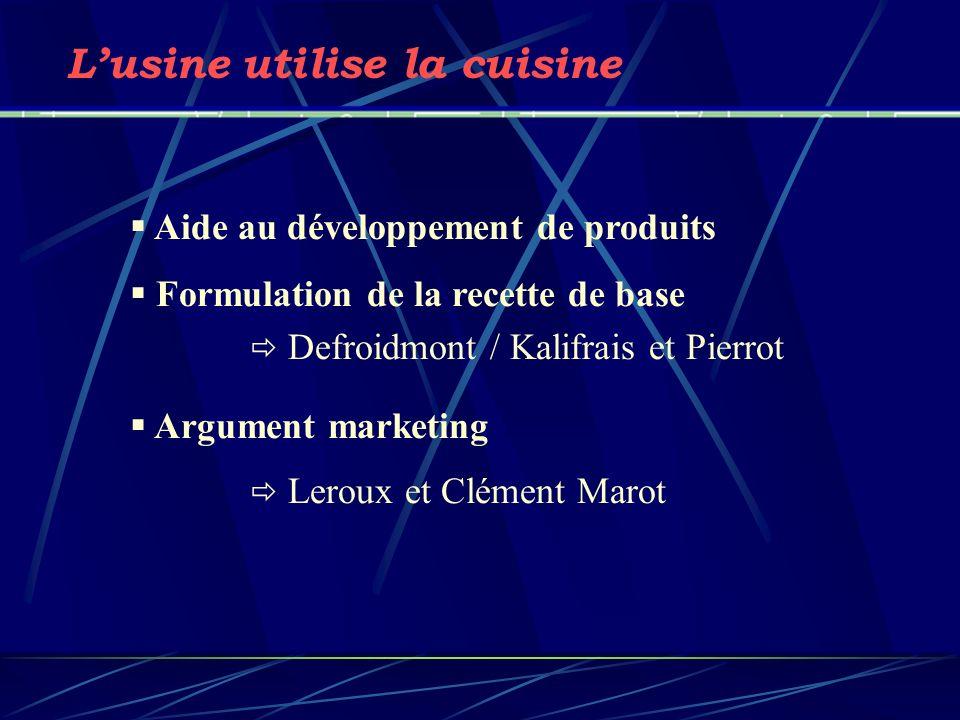 Aide au développement de produits Formulation de la recette de base Argument marketing Lusine utilise la cuisine Defroidmont / Kalifrais et Pierrot Le