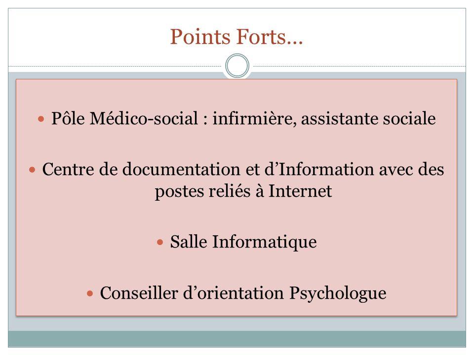 Points Forts… Pôle Médico-social : infirmière, assistante sociale Centre de documentation et dInformation avec des postes reliés à Internet Salle Info
