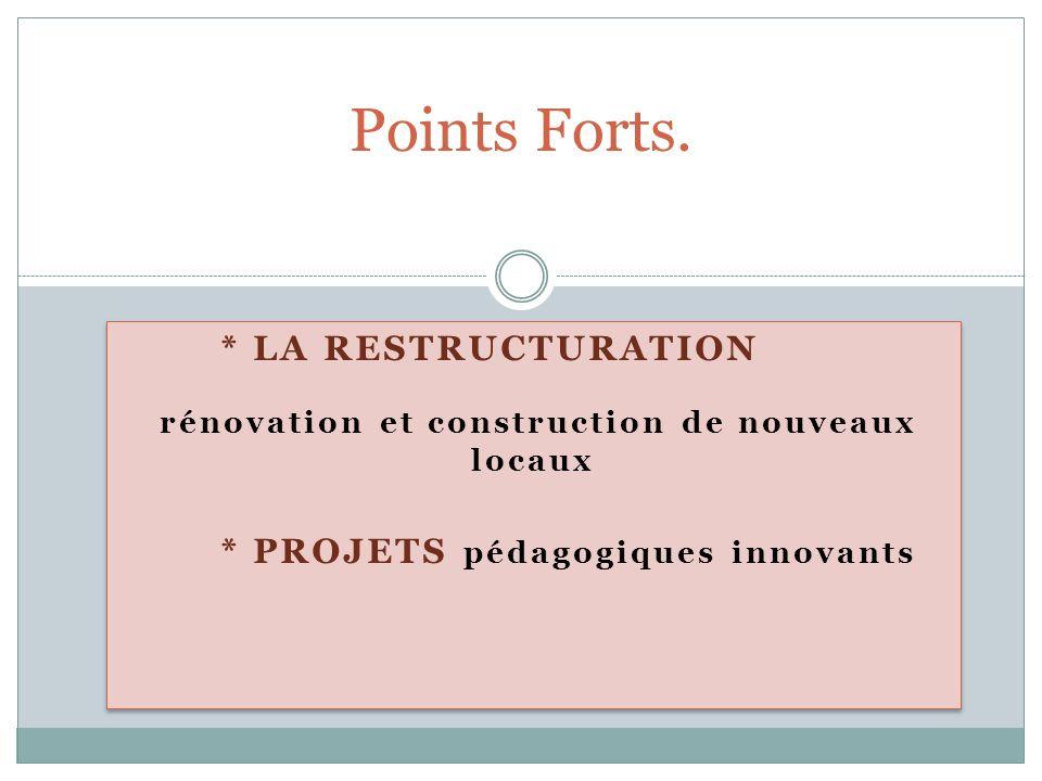 * LA RESTRUCTURATION rénovation et construction de nouveaux locaux * PROJETS pédagogiques innovants * LA RESTRUCTURATION rénovation et construction de