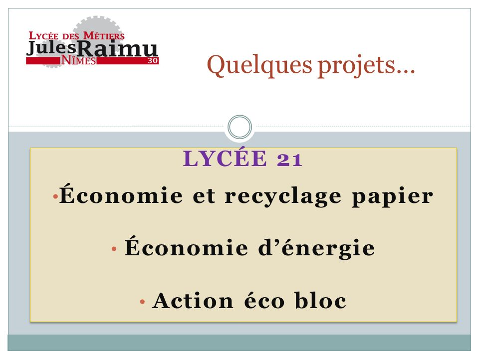 LYCÉE 21 Économie et recyclage papier Économie dénergie Action éco bloc LYCÉE 21 Économie et recyclage papier Économie dénergie Action éco bloc Quelqu