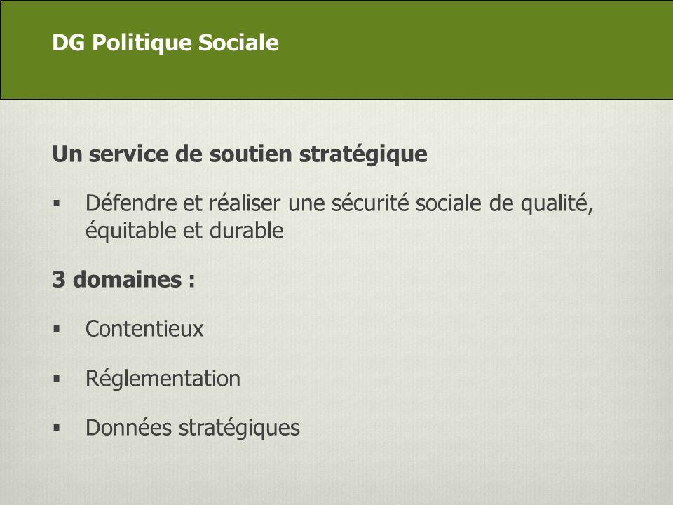 DG Appui stratégique Un service de soutien stratégique Défendre et réaliser une sécurité sociale de qualité, équitable et durable 3 domaines : Contentieux Réglementation Données stratégiques DG Politique Sociale