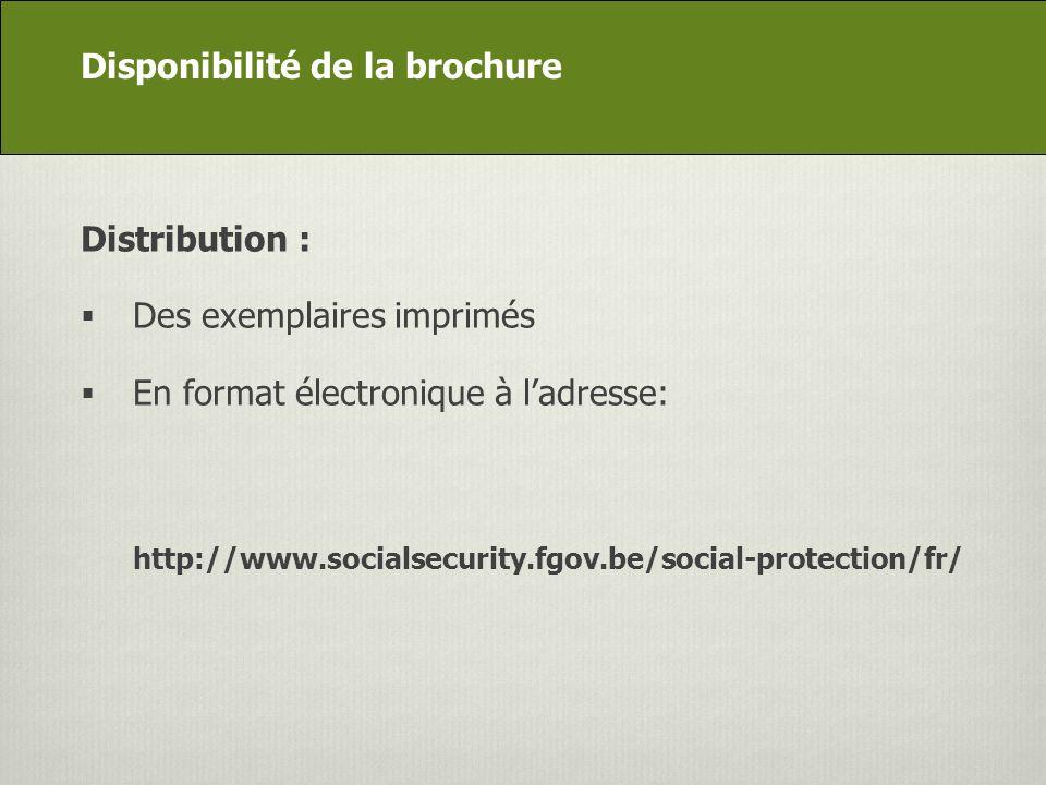 DG Appui stratégique Distribution : Des exemplaires imprimés En format électronique à ladresse: http://www.socialsecurity.fgov.be/social-protection/fr/ Disponibilité de la brochure