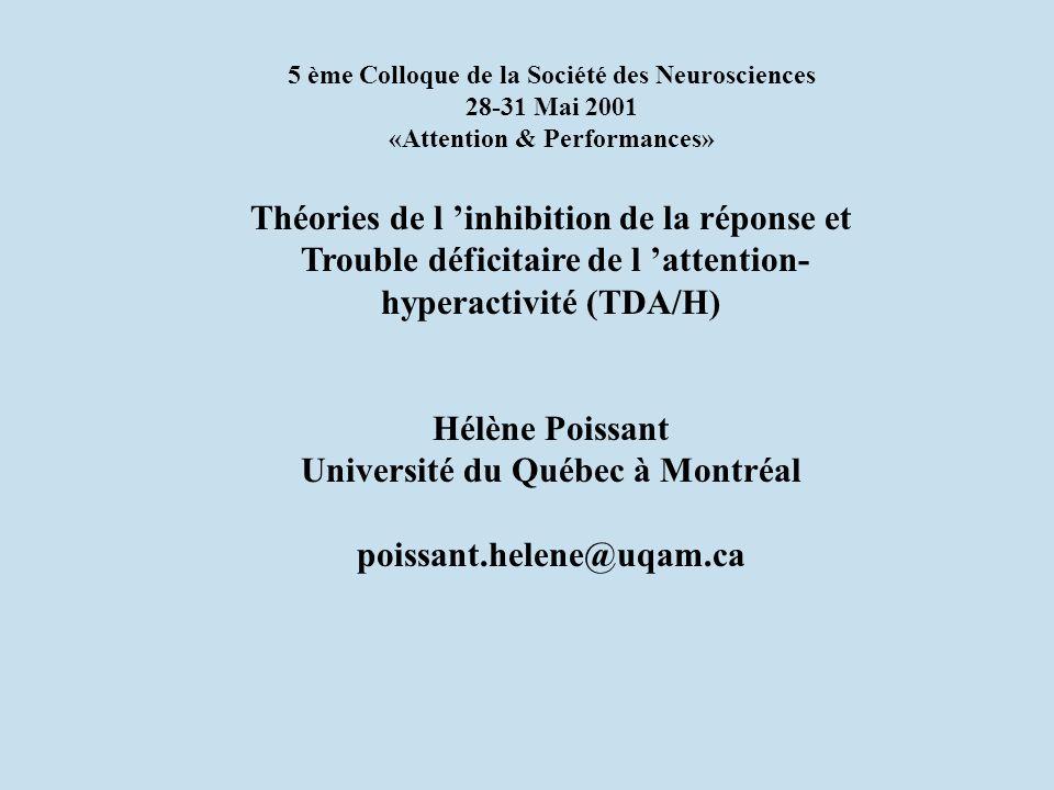5 ème Colloque de la Société des Neurosciences 28-31 Mai 2001 «Attention & Performances» Théories de l inhibition de la réponse et Trouble déficitaire