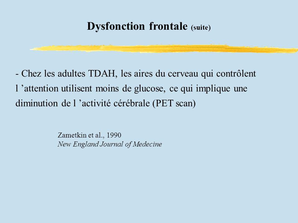 - Chez les adultes TDAH, les aires du cerveau qui contrôlent l attention utilisent moins de glucose, ce qui implique une diminution de l activité cérébrale (PET scan) Zametkin et al., 1990 New England Journal of Medecine Dysfonction frontale (suite)